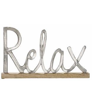 Schriftzug-relax-aus-Aluminium-mit-Sockel-aus-Holz_Wohnaccessoire_gruenzimmer-shop_strandkoerbe-und-gartenmoebel