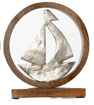 Segelboot-aus-Aluminium-mit-Sockel-aus-Holz_Wohnaccessoire_gruenzimmer-shop_strandkoerbe-und-gartenmoebel